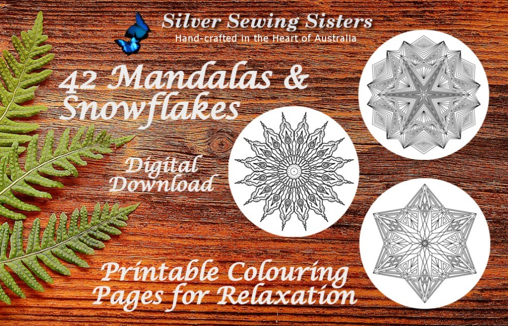 Printable Coloring Pages for Relaxation - 42 Mandalas and Snowflakes